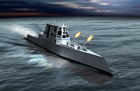Полностью электрический корабль DD(X) будет оснащён, среди прочего, дальнобойным электромагнитным оружием (иллюстрация с сайта esys.com).